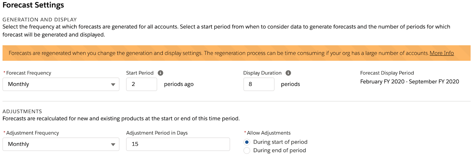 Manufacturing Cloud Forecast Settings