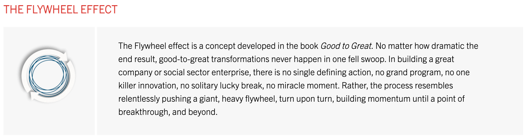Good to Great - Flywheel Concept