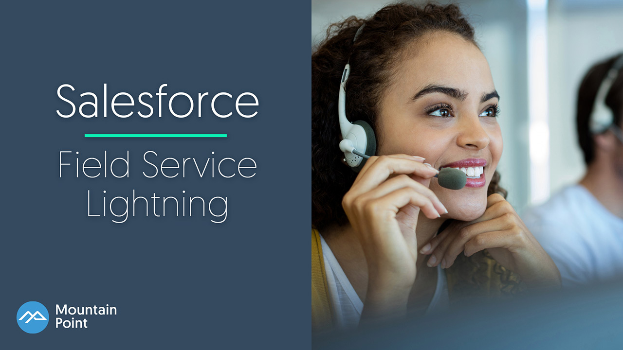 Woman using Salesforce Field Service Lightning tools to set up a service call and dispatch a field service agent.